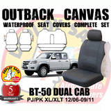 Canvas Custom Car Seat Covers Mazda BT-50 BT50 Dual Cab 11/2006-10/2011 Airbag Deploy Safe