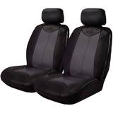 Black Bull Leather Look Seat Covers Airbag Deploy Safe - Black/Grey