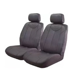 Black Bull Leather Look Seat Covers Airbag Deploy Safe - Grey Size 30
