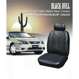 Black Bull Leather Look Falcon Wagon Seat Covers 10/2002-On BA-BF Airbag Safe 2 Rows Grey