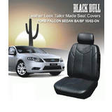 Black Bull Leather Look Falcon BA FG Sedan Seat Covers 10/2002-On Airbag Safe Front + Rear Black