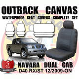 Canvas Custom Car Seat Covers Nissan Navara Dual Cab D40 RX ST 12/2009-1/2012 Front & Rear