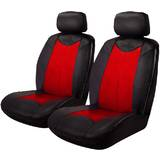 Black Bull Leather Look Seat Covers Airbag Deploy Safe - Black/Red One Pair