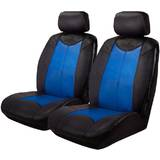Black Bull Leather Look Seat Covers Airbag Deploy Safe - Black/Blue One Pair
