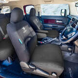 Black Duck Canvas Black Seat Covers Toyota Hilux 8th Gen Workmate Dual Cab 7/2015-On