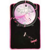 Dragonfly Pink Car Floor Mats Front & Rear Plus Steering Wheel Cover Pack