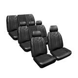 Custom Made Leather Look Black Seat Covers Nissan Patrol Y62 8 Seater ST-L / TI Wagon 2/2013-On 3 Rows
