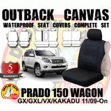 Canvas  Black Car Seat Covers Prado 150 11/2009-On Airbag Safe 3 Rows