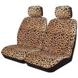 Wild Leopard Animal Print Seat Covers 30/50 Deploy Safe Airbag Front Pair