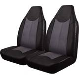 Black Bull Black/Grey Leather Look Seat Covers Size 25 Airbag Deploy Safe