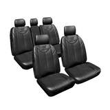 Custom Made Nissan Dualis 2012-On Black Bull Leather Look Seat Covers Airbag Front & Rear Deploy Safe