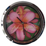 Frangipani Flower Analog 10 Inch Quartz Wall Clock Pink