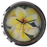 Frangipani Flower Analog 10 Inch Quartz Wall Clock Yellow