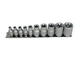 Teng Tools - 10 Piece 1/4 inch and 3/8 inch Drive TX-E Sockets on Clip Rail M3814