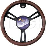 Leather Slip-On Steering Wheel Cover 15 inch - Brown S2232