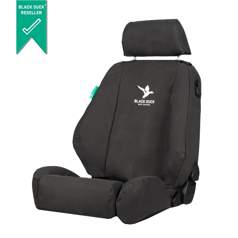 Black Duck Canvas Console & Seat Covers Toyota Hilux 4x4 SR 8/2009-6/2015 Black