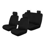 Canvas Custom Car Seat Covers Nissan Navara Dual Cab D40 RX ST 12/2009-1/2012 Front & Rear Black