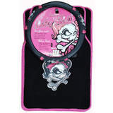 Lady Skull Pink Car Floor Mats Front & Rear Plus Steering Wheel Cover Pack