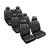 Custom Made Seat Covers Leather Look Black Set Suits Ford Everest 7/2015-On 3 Rows