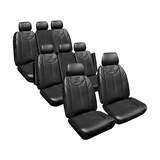 Custom Made Seat Covers Leather Look Black Set Suits Kia Carnival YP 2/2015-On 3 Rows Deploy Safe
