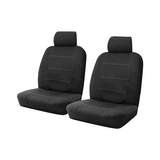 Wet N' Wild Neoprene Wetsuit Black Front Car Seat Covers Airbag Deploy Safe White Stitching One Pair