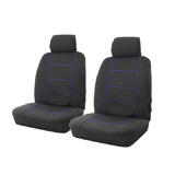 Wet N' Wild Neoprene Wetsuit Black Front Car Seat Covers Airbag Deploy Safe Blue Stitching One Pair