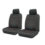 Wet N' Wild Neoprene Wetsuit Black Front Car Seat Covers Airbag Deploy Safe Red Stitching One Pair