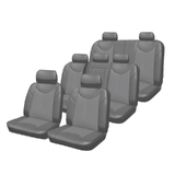 Custom Made Car Seat Covers Leather Look Grey Toyota Prado 150 11/2009-On Airbag Safe 3 Rows