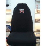 AXS Car Seat Cover GTR Slip On Throw Over Embroidered Single Black