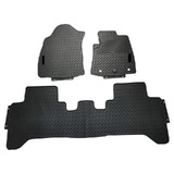 Rubber Custom Floor Mats Toyota Hilux (Auto) Dual Cab Workmate/SR/SR5 8/2015-On Front & Rear Black MRBTY002BLK2RW