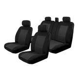 Velour Seat Covers Custom Nissan X-Trail T32 5 Seater ST/ST-L/Ti/TS 3/2014-On 2 Rows Black Deploy Safe Airbag