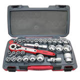 Teng Tools - 30 Piece 1/2 inch Drive Rosso Socket Set MM/AF T1230